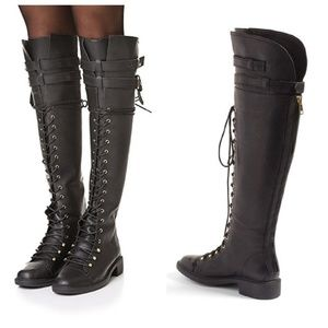 Joie Leather Over the Knee Lace Up Biker Boots